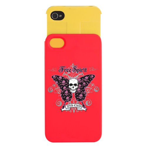 iPhone 4 or 4S Wallet Case Red and Yellow Butterfly
