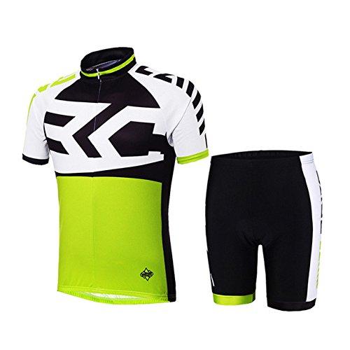 Netspower® 2016 Estate Uomo Abbigliamento Ciclismo manica corta Sportivo Maglia Bicicletta con Pantaloni Traspirante Protezione UV-BC-523-verde XL