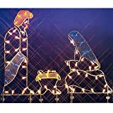 """68"""" Holy Family Nativity Silhouette Lighted Wire Frame Christmas Yard Art"""