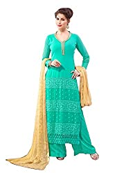 YOUR CHOICE Georgette Green Embroideried Women's Straight Suit FLD1002