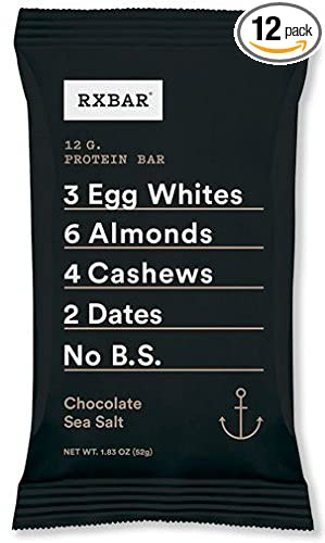 RXBAR Whole Food Protein Bar, Chocolate Sea Salt 1.83 Ounce (Pack of 12)