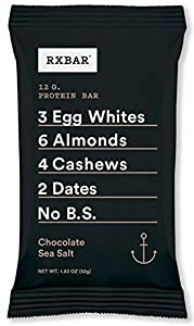 RxBar Whole Food Chocolate Sea Salt Protein Bar, 1.83 Ounce (Pack of 12)