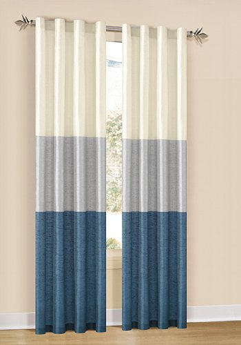 Duck River Textiles South Park Faux Silk Grommet Pair Panel, 80 By 84-Inch, Steel Blue/Silver/Champagne back-7403