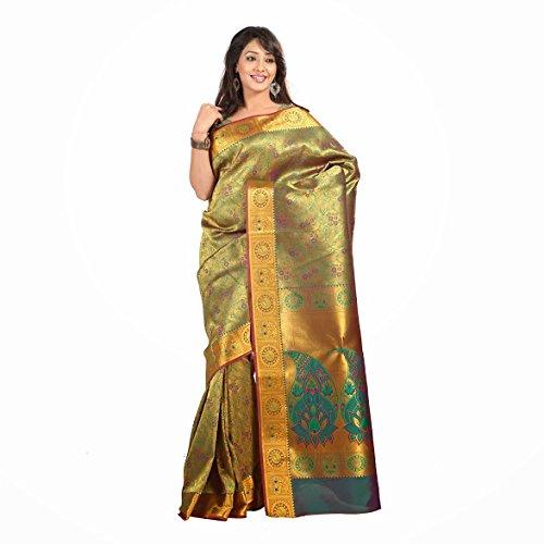 Varkala Nandani Silk Full Brocade Zari Saree and Zari Blouse, Colour-Pakistani Green-NSJB5105PGV