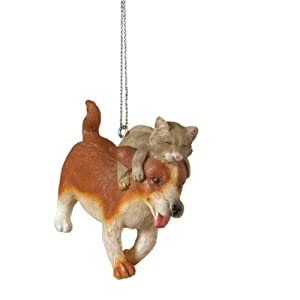 Playful Cat and Dog Christmas Ornament