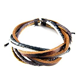 Adjustable Multi-strand Brown Leather Bracelet, 7-9