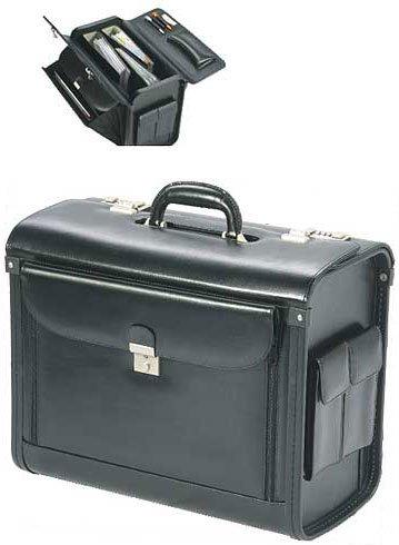 Pilotenkoffer aus feinstem Rindsleder in schwarz,