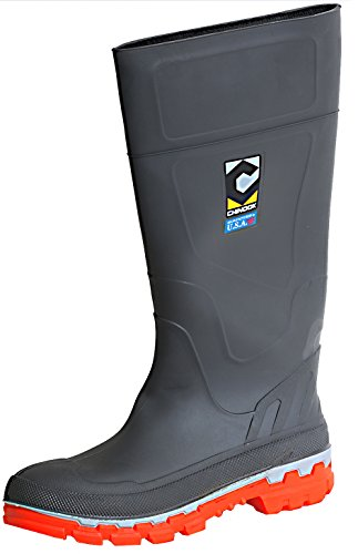 Chinook Men's Kickaxe Waterproof Soft Toe Rain Boot (11 D(M) US, Charcoal/Orange) (Rain Boots Arch Support compare prices)
