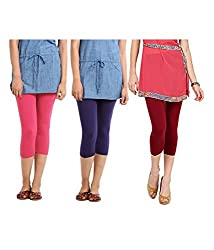 Rooliums Super Fine Cotton Lycra Womens Capri Leggings Combo Pack of 3 (Pink, Purple and Maroon) - FREE SIZE