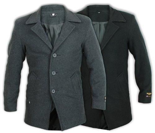 Mens Black Wool Winter Outerwear Jacket (Large, Black)