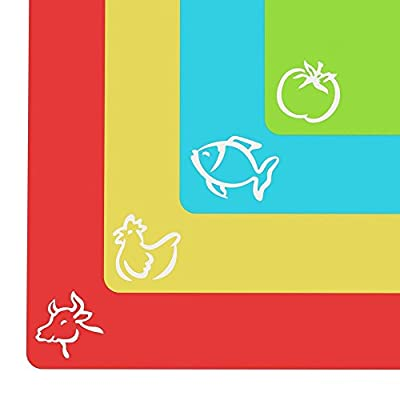 "Cooler Kitchen - ""EZ-Grip"" Gripped Extra Thick Flexible Plastic Cutting Board Mats"
