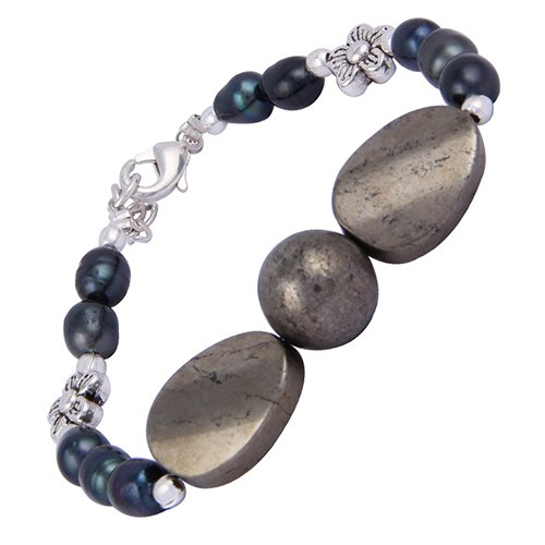 Pearlz Ocean Pearlz Ocean Golden Tassel 7.5 Inches Pyrite Beads & Dyed Freshwater Beads Bracelet (Yellow)