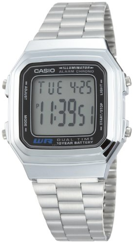 Casio Men's A178WA-1A Silver Stainless-Steel Quartz Watch with Grey Dial