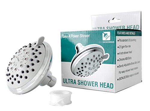 High Water Pressure Shower Head-Combo with 6 Adjustable Nozzle Flow Settings-Fits Standard U.S. Plumbing- 2.5 GPM -with showers saver mode. (Double Shower Head Extended compare prices)