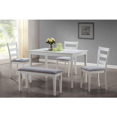 Monarch Specialties 5-Piece Dining Set with Bench and 3 Side Chairs, White