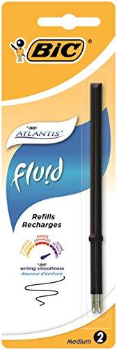 BIC Lot de 10 Blisters de 2 Recharges Pte Moy. 1,2 mm Noire pour Stylo bille ATLANTIS FLUID