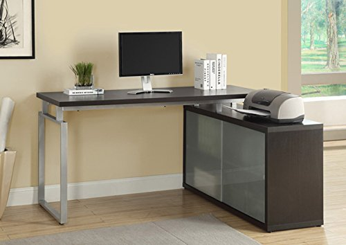 "CAPPUCCINO HOLLOW-CORE ""L"" SHAPED DESK WITH FROSTED GLASS (SIZE: 60L X 48W X 31H)"
