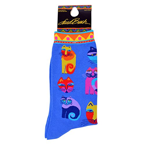 laurel-burch-socks-feline-festival-blue