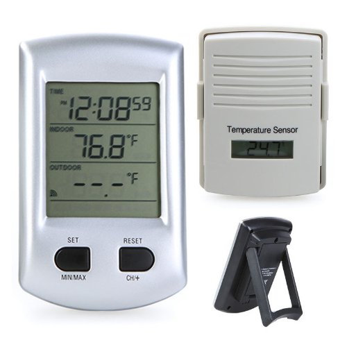 GigaMax(TM) Digital Wireless Indoor Outdoor Thermometer Weather Station Clock For Home Garden