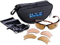 NYX Arrow Sunglasses with 3 Interchangeable Lenses (Brown Tortoise Frame/Amber-Brown 3-Lens Set)