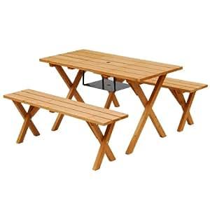 山善(YAMAZEN) ガーデンマスター ピクニックガーデンテーブル&ベンチ 3点セット BBQ仕様 ブラウン PTS-1207BS