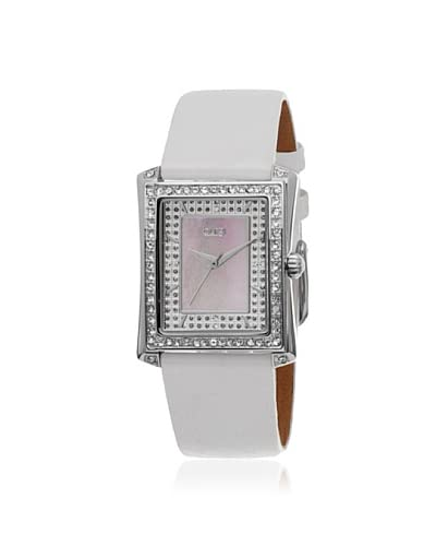 Burgi Women's BUR088WT White Crystal Accented Leather Watch