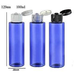 20pcs/lot 100ml DIY Empty Blue Pet Lotion Bottle With Flip Top Cap, 100cc Square Shoulder Blue Plastic Cream Cosmetic Container (Clear Cap)