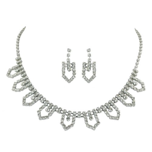 Brass Crystal Open Soft Link Rhodium Necklace and Earring Set
