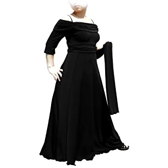 Evanese Women's Plus Size dress with 3/4 sleeves and side flare (1X. Black)