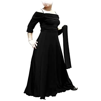 Evanese Women's Plus Size dress with 3/4 sleeves and side flare 1X. Black