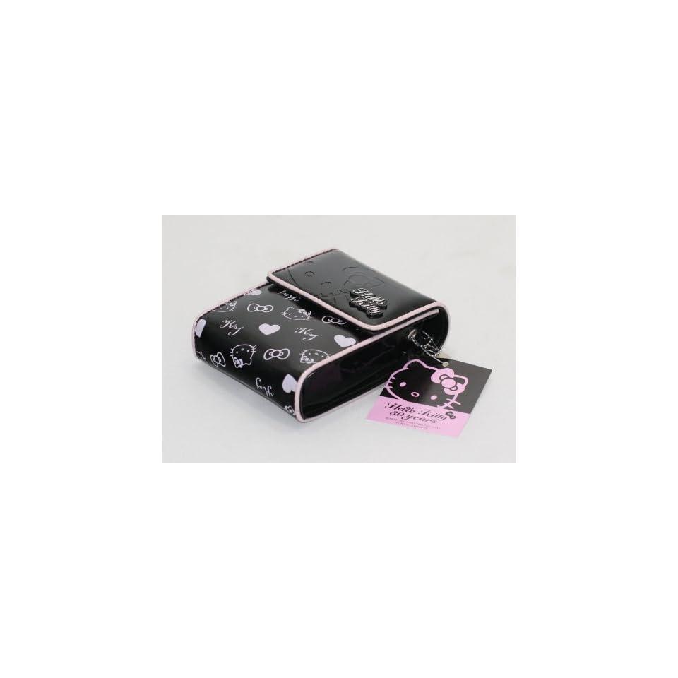 Sanrio Hello Kitty Black w/ Silver Heart Cell Phone Case   Holder   Size 4.5