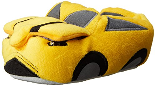 Stride Rite Boy'S Lighted Car With Flip Open Engine Slipper, Yellow/Black, 9/10 front-705541