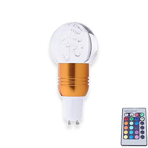 4X Gu10 3W Led Colorful Lights Change Color Crystal Lamp Remote Control Energy Saving Lamps