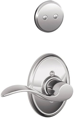 Schlage Lock Company F94ACC619CENLH Satin Nickel Interior Pack Accent Lever Left Handed Dummy Interior Pack with Deadbolt Cover Plate and Decorative Century Rose