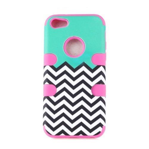 KINGCO Multi Tone New Chevron Design Hybrid Armored Case Combo for Apple iPhone 5C Hard Soft Cases Covers (hot pink)