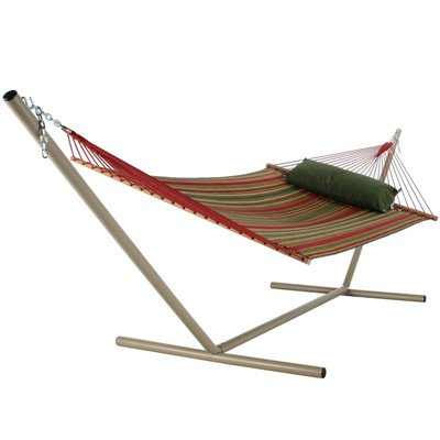 Large Quilted Fabric Hammock with Stand Color: Beaches Stripe