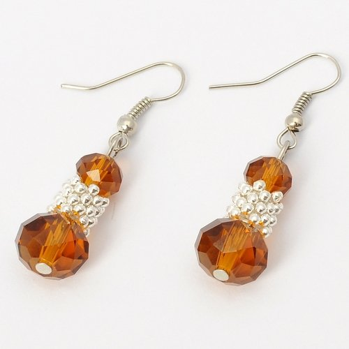 Fashion Silvery Bunch of Beads Coffee Crystal Drop Loop Dangle Earrings Jewelry