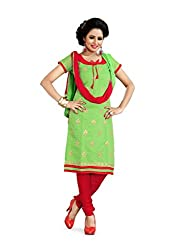 JHEENU Women's Embroidered Unstitched Straight Dress Material (Popat Green_Fr...