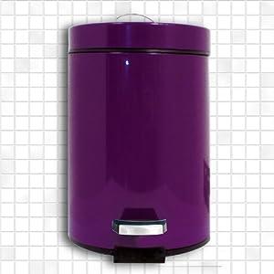 m lleimer treteimer abfalleimer kosmetikeimer 3 liter metal farbe lila aubergine. Black Bedroom Furniture Sets. Home Design Ideas