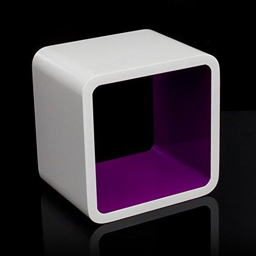 Homestyle4u Cube Wandregal Regal Bücherregal Hängeregal Retro Design weiss Lila