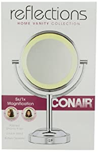 Conair BE4NW Classique Double-Sided Lighted Makeup Mirror with 5x Magnification
