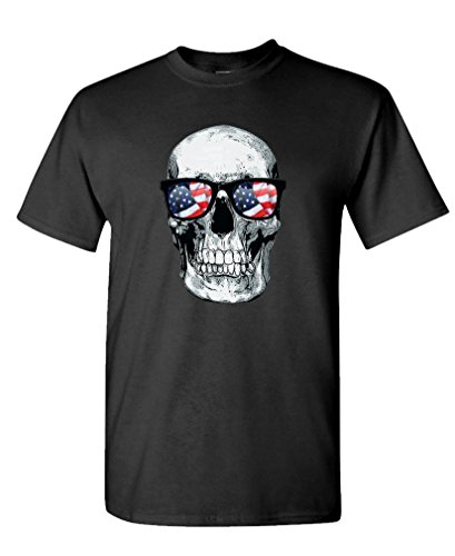SKULL WITH USA GLASSES american biker ride - Mens Cotton T-Shirt, S, Black