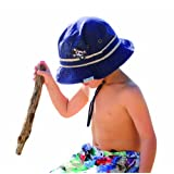 Boys Cotton Sun Hat Pirate Bucket -Navy UPF50+ (2-5 Years (51 CM)) ~ JEM