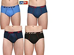 Alfa Stylo Frenchee Men's 100% Combed Cotton Brief OE (Pack of 4) - Assorted Color