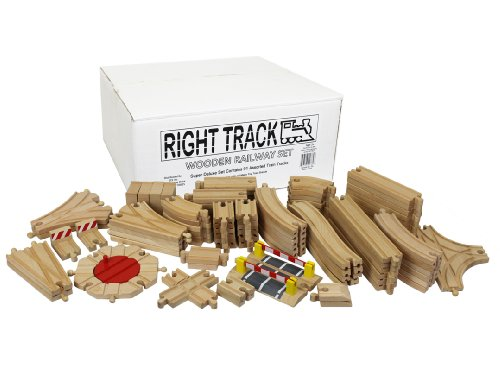 save wooden train track super deluxe set 91 assorted pieces 100 compatible with all. Black Bedroom Furniture Sets. Home Design Ideas