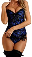 TDOLAH Women's Fully Boned Overbust Bustier Brocade Basque Corset Sexy Lingerie