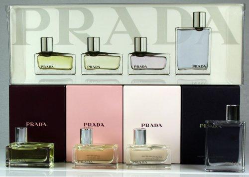 Prada Collection 4 Piece Miniature Set Prada 7ml Edp Prada Intense 7ml Edp Prada Tendre 7ml Edp Prada Pour Homme 9ml EDT