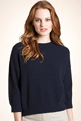 Pure Cashmere 3/4 Sleeve Stitch Boxy Jumper