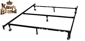 King's Brand 7-Leg Heavy Duty Adjustable Metal Bed Frame with Center Support Rug Rollers and Locking Wheels, Queen/Full/Full XL/Twin/Twin XL