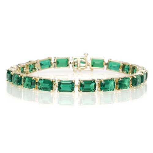 10k Yellow Gold Emerald Cut LabCreated Emerald Bracelet, 7